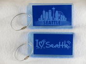 Destinations Neon Acrylic I.D. Tag - Seattle Blue