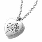 Memorial Ash Keepsake Cremation Jewellery Always in My Heart Urn Pendant Necklace in Stainless Steel