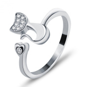 Wristchie Womens Fashion Jewellery 925 Sterling Silver Adjustable Ring Cute Cat Kitty