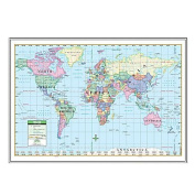 Universal Map 16477 World Primary Mounted & Silver Framed Map