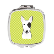 Carolines Treasures BB1271SCM Checkerboard Lime Green Bull Terrier Compact Mirror 2.75 x 3 x .7.6cm .