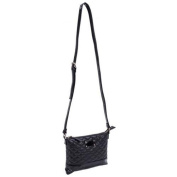 Parinda 11205 CARA Quilted Faux Leather Crossbody Bag - Black