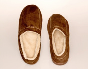 Living Health Products MSFS-004-910 Mens Slipper Suede Fleece Brown - Medium