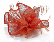 Orange Mesh Flower and Feather Fascinator with PreciousBags Dust Bag
