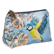 DISASTER DESIGNS AVIARY BLUE TIT BIRD MAKE UP BAG POUCH FOR COSMETICS OR TRAVEL