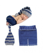 Jastore® Photography Prop Baby Boy Costume Stripe Crochet Knitted Hat Pants