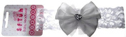 BNWT baby girls lace and satin bow and jewel hairband in white or pink NB to18 m