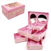 """Sophia"" Girls Pink Musical Ballerina Jewellery Box with 2 Drawers"