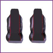 CITROEN BERLINGO VAN (2002-2008) PREMIUM FABRIC SEAT COVERS RED PIPING 1+1