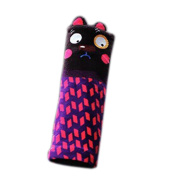 Safe Car Soft Seat Belt Strap Cover, Lovely Catoon Cat, Black