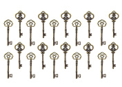 Vintage Steampunk Skeleton Keys Charm Set in Antique Silver and Bronze Pack of 20 Keys