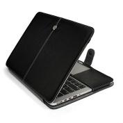 HQF® PU Leather Laptop Cover, Magnetic Folio Flip PU Leather Case Sleeve Bag for Macbook Pro 33cm A1278 - Black