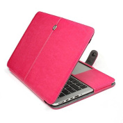 HQF® PU Leather Laptop Cover, Magnetic Folio Flip PU Leather Case Sleeve Bag for Macbook Pro 33cm A1278 - Rose