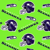 NFL Seattle Seahawks Lime Fleece Fabric - Sold By the Yard