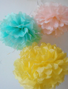 HEARTFEEL 12pcs 25cm 20cm Tissue Paper Pom-poms Yellow Mint Peach Outdoor Decoration Tissue Paper Pom Poms Party Balls Wedding Christmas Xmas Decoration