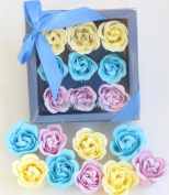3 Yellow, 3 Teal, 3 Lavender, Bath Bomb, Mom Gift, Girls Gift, Birthday Gift, 18 Colourful Rose Flower, Pienmium Gift Box