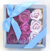 3 Light Purple, 3 Mid an Purple, 3 Dark Purple, Bath Bomb, Mom Gift, Girls Gift, Birthday Gift, 18 Colourful Rose Flower, Pienmium Gift Box