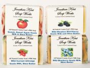 Jonathan Kent Goats Milk Soap WILD FRUIT 4 BAR SAMPLER Saturated with 100% Creamy Farm Fresh Goats Milk & Shea Butter, No Water, Wild Raspberry Vanilla Wild Blueberry Wild Current Orange, Sweet Apple