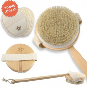 Bath Brushes - Long Handle - Detachable Exfoliating Bathing Brush for Women & Men - Total Body Bath Brush Improves Circulation, Detoxifies, Reduces Cellulite - #1 Bath Scrub Brush for Heathy Skin