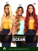 LH OCEAN (#1 JET BALCK) - THE WIG 100% Human Hair Blend Invisible Part Lace Front Wig
