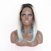 Ebingoo Handmade 3 Tones Synthetic Lace Front Wigs Grey to Blue Ombre Short Bob Wig Dark Roots Heat Resistant Straight Hair JLS094