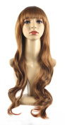 Xiaoyu Flat Bangs Natural Synthetic Long Wigs Curly Wigs - Blonde