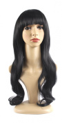 Xiaoyu Flat Bangs Natural Synthetic Long Wigs Curly Wigs - Black