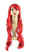 "Xiaoyu 22""80cm Oblique Bangs Long Curly Hair Cosplay Costume Party Women Wigs - Red"