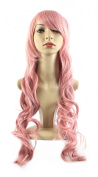 "Xiaoyu 22""80cm Oblique Bangs Long Curly Hair Cosplay Costume Party Women Wigs - Pink"