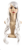 "Xiaoyu 22""80cm Oblique Bangs Long Curly Hair Cosplay Costume Party Women Wigs - Silver"