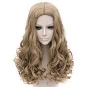 Coolsky Cosplay Costume Wigs Cinderella Brown Curely 60cm Wig
