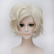 Coolsky Cosplay Costume Wigs Pale Golden Short Waved Wig