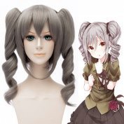 Coolsky Cosplay Costume Wigs Two Ponytails Dark Grey Waved Wig