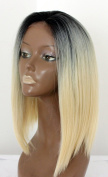 Two Tone Colour Black to Blonde Heat Resistant Fibre Synthetic Lace Front Wig 36cm