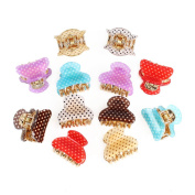 GSM Accessories 12PCS Womens Polka Dot Print Small Size Acrylic Hair Clips Claws HC040X2