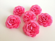 Bridal Wedding 6 Pcs Hot Pink Satin Flower