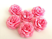 Bridal Wedding 6 Pcs Handmade Pink Satin Flower