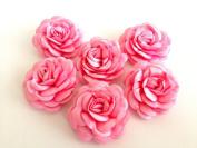 Bridal Wedding 6 Pcs Handmade Pink Satin Flower