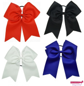 20cm Jumbo Cheer Bow Big Hair Bows with Ponytail Holder Large Classic Boutique Accessories with Elastics Ribbon Bands Ties for Teens Women Girls Softball Cheer School College Cheerleader Sports Handmade by Kenz Laurenz