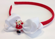 Santa Claus Christmas Holiday Headband Hair Accessory for Girls - Red & White