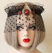 Sexy Black Gauze Veil Mesh Dance Crown Jewel Stone Headpiece/headdress Half Face Mask
