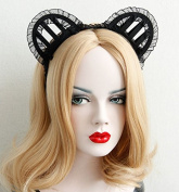 Black Cosplay Cat Ears Perspective Hollow Lace Headband Tiara Dance Party Headpiece/headdress