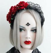 Red Roses Gothic Lolita Maid Crown Tiara Headpiece/headdress Headband