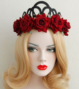 Red Roses Queen Crown Tiara Forehead Frontlet Browband Headpiece/headdress Headband