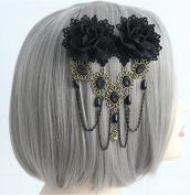 Black Lace Flowers Gothic Tassel Tiara Hairpin Headpiece/headdress