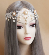 White Lace Pearl Crown Tiara Forehead Frontlet Browband Headpiece/headdress