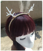 White Small Antlers Elk Reindeer Hair Headband