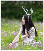 White Elk Reindeer Antlers Hair Band Headband