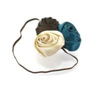 My Lello Satin Rose Flower Cluster on Skinny Headband - brown/teal/ivory