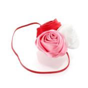 My Lello Satin Rose Flower Cluster on Skinny Headband - red/bubblegum/white